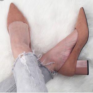 Zara nude suede pointed toe chunk block heels